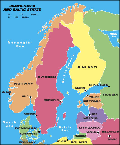 Sweden Map Scandinavia and Baltic States