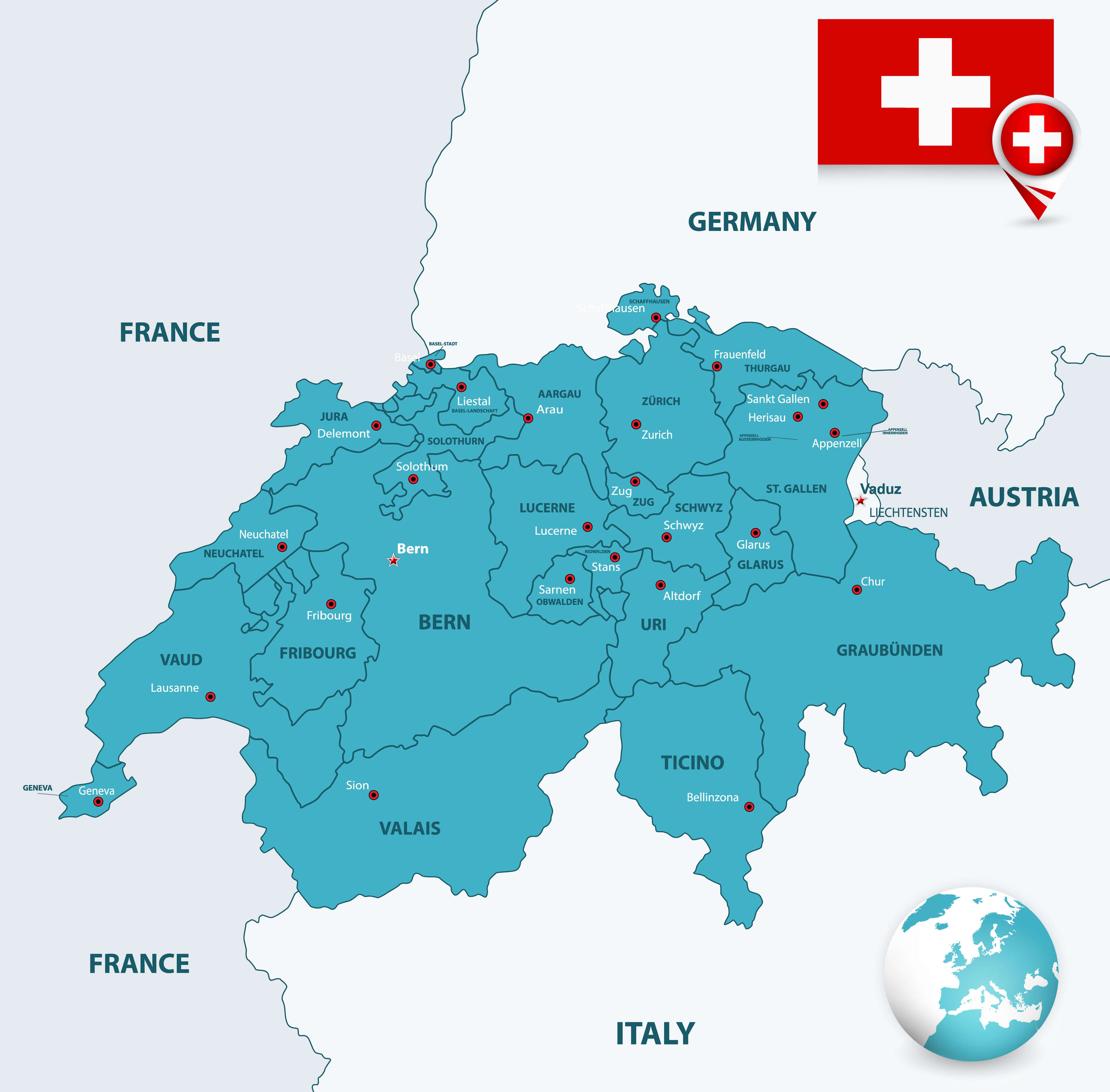 Switzerland Cities and Cantons Map