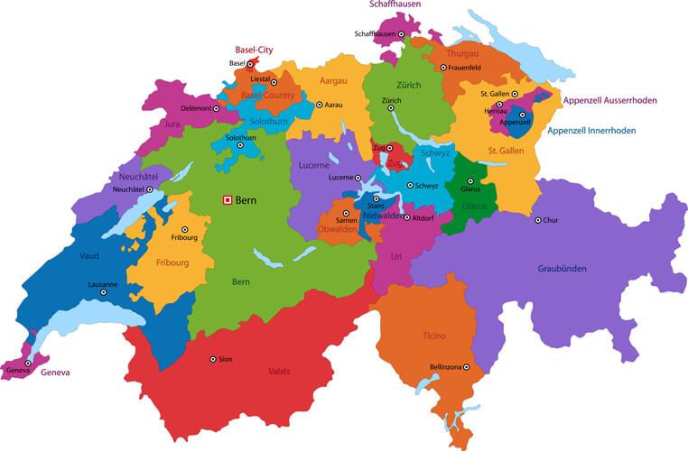 Switzerland Colorful Map