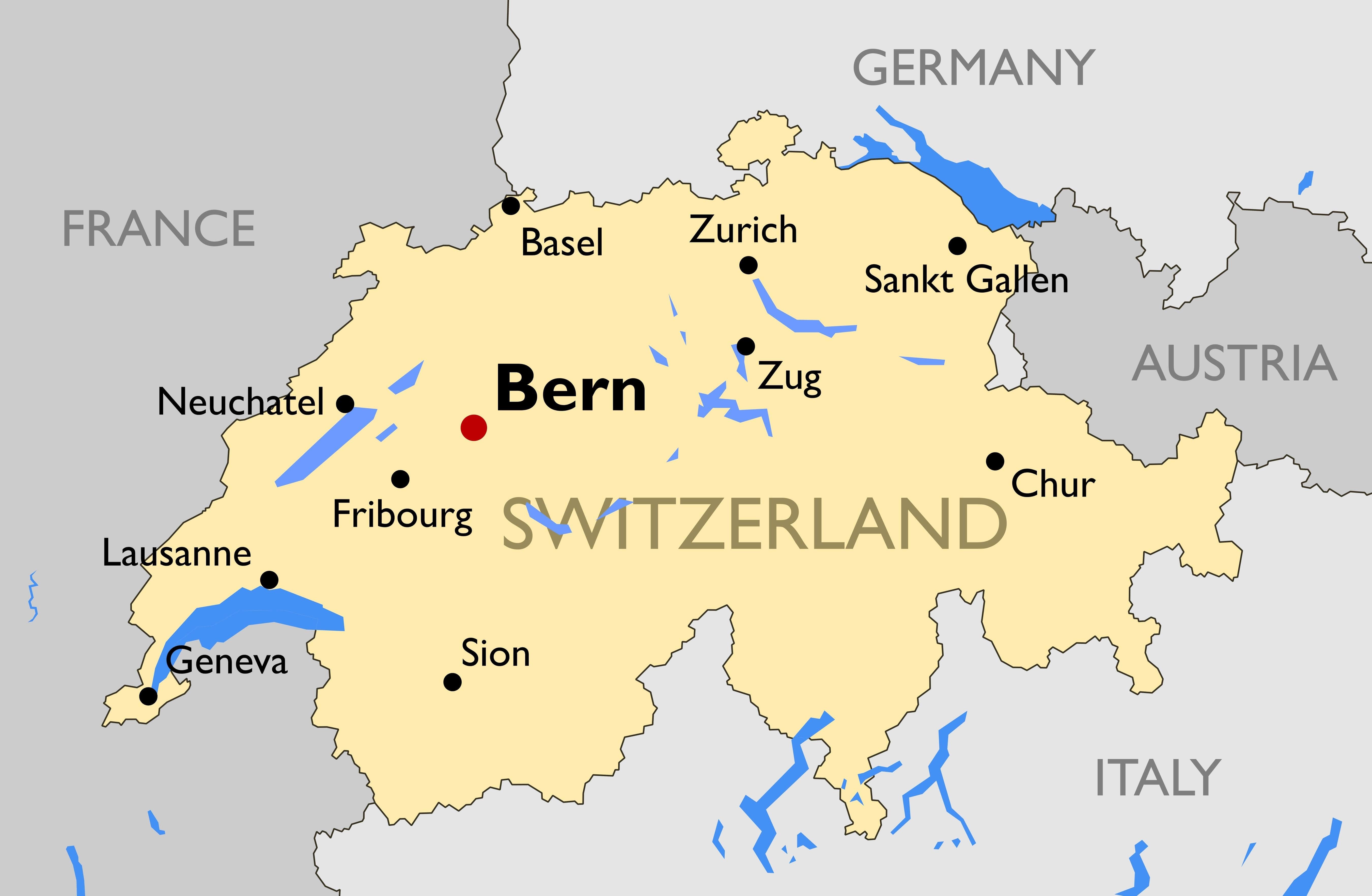 Switzerland Main Cities Map