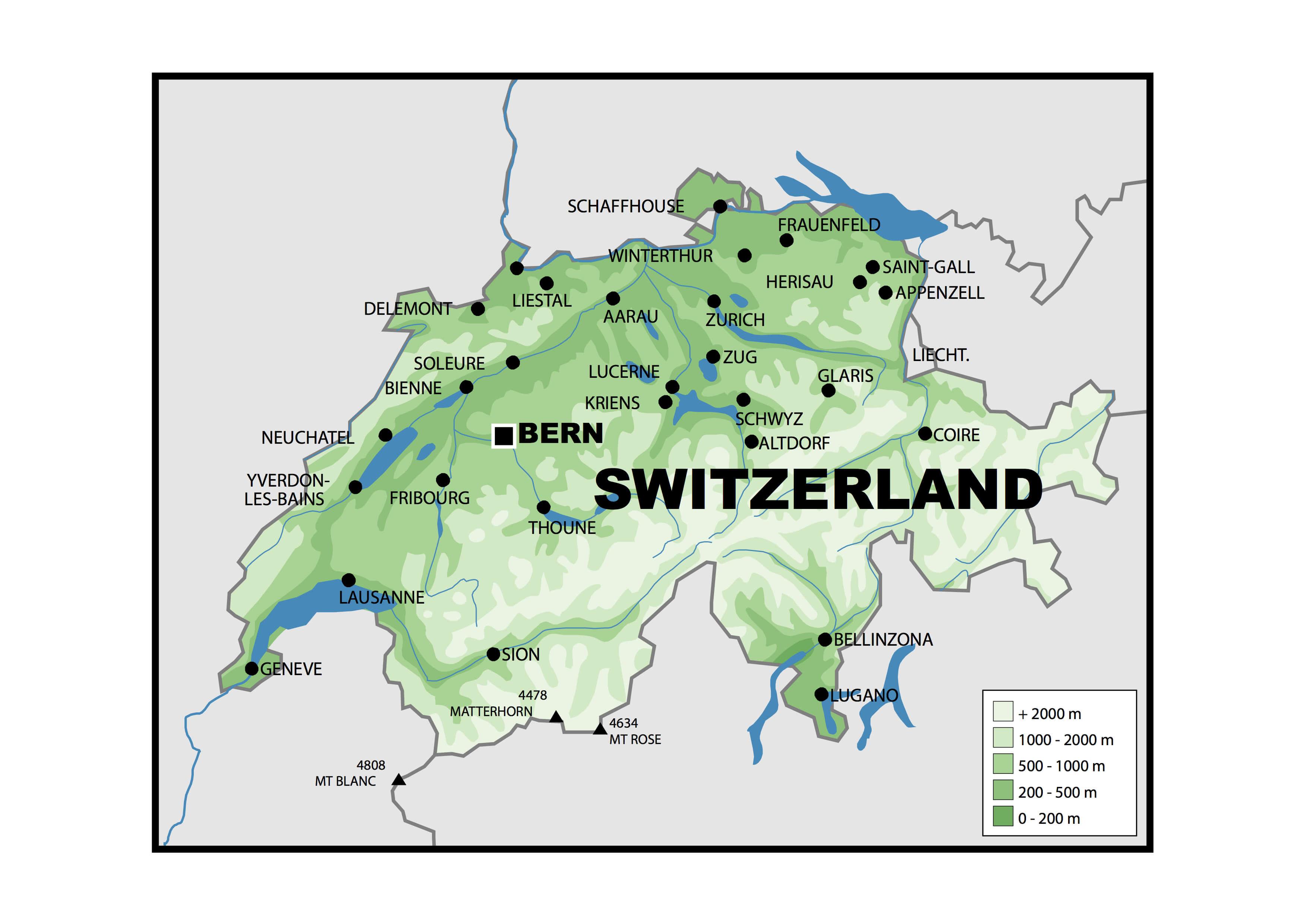 Switzerland Physical Map