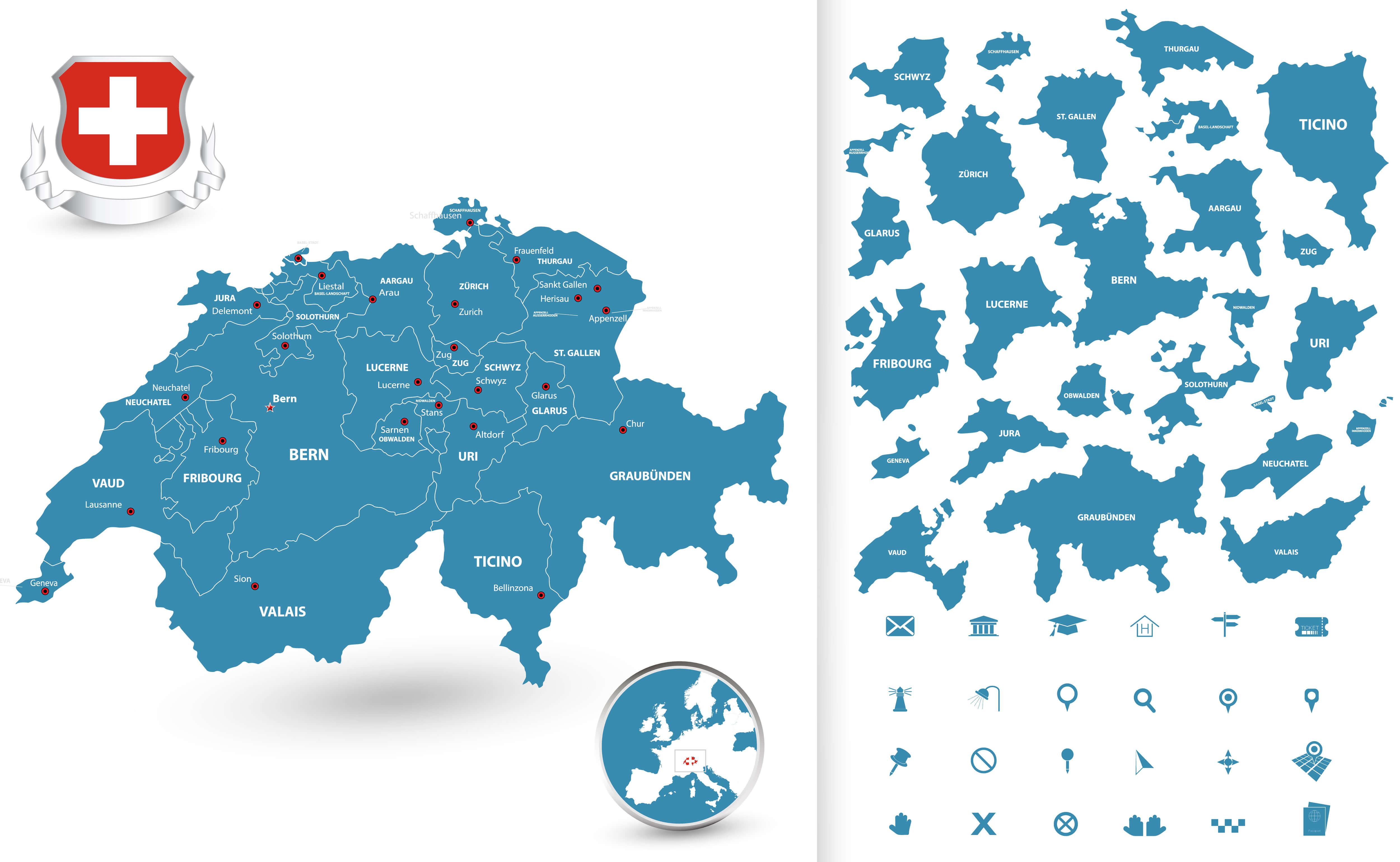 Switzerland Regions Map