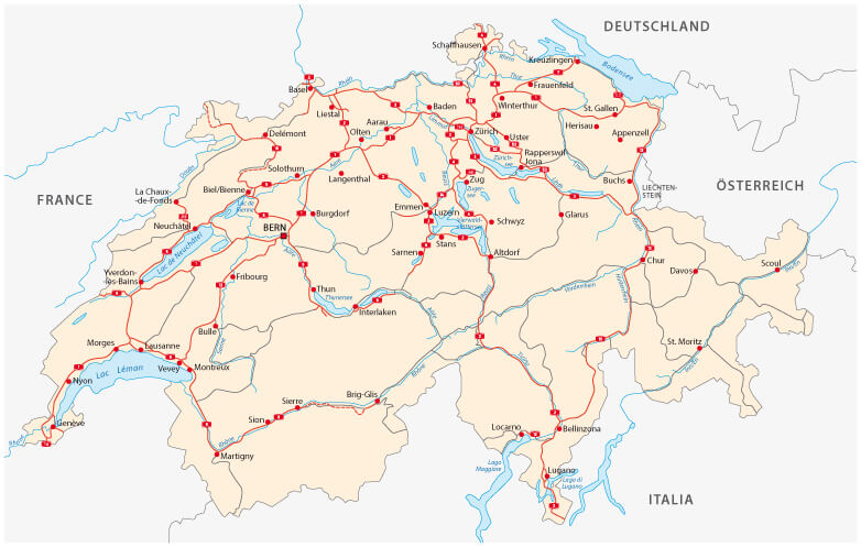 Switzerland Road Map