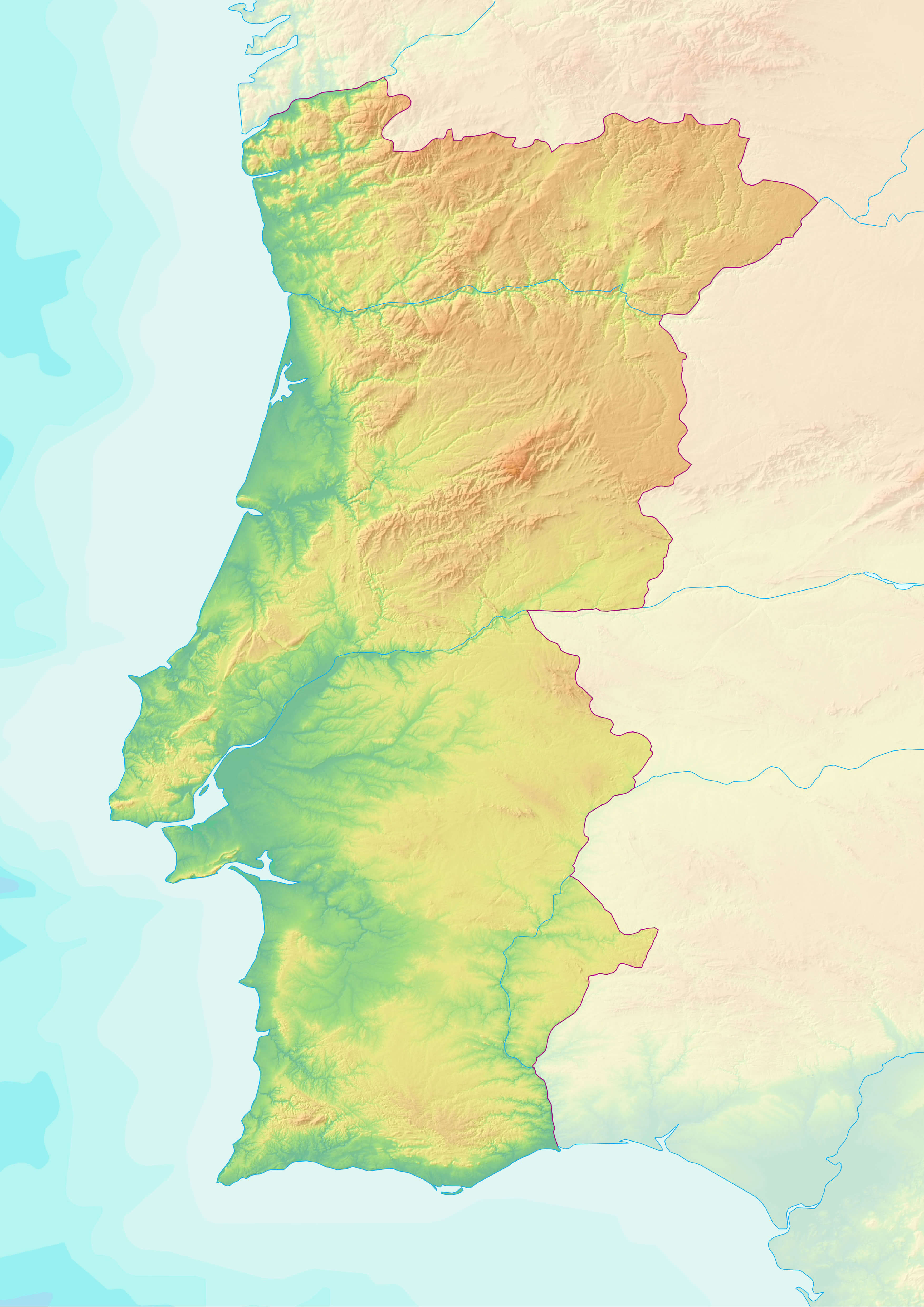 Topographic Map of Portugal