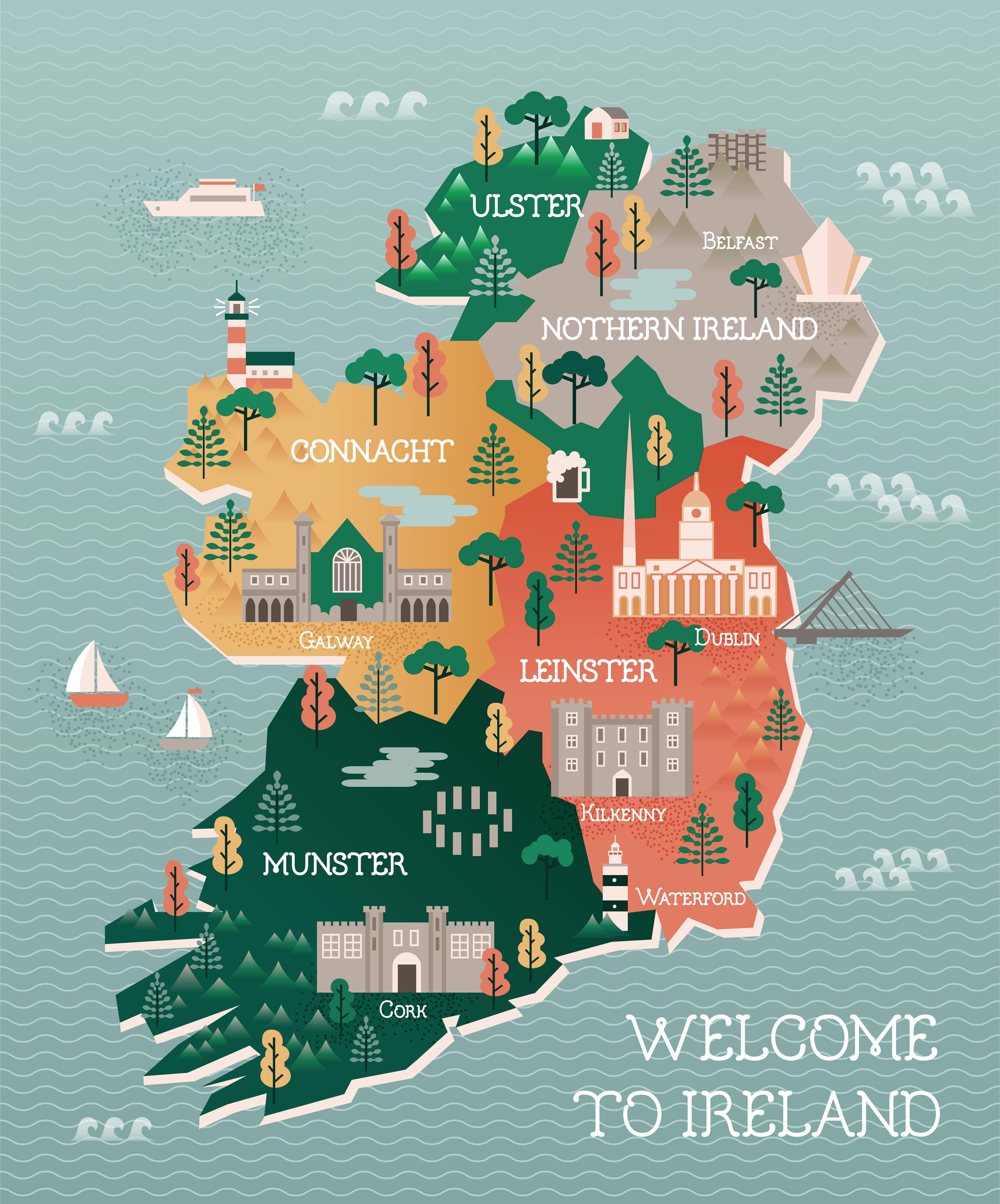 Travel map of Ireland