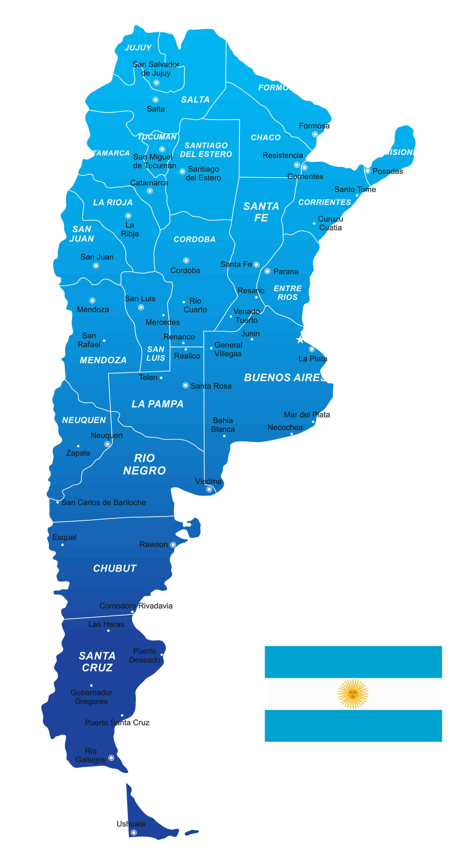 Vector Map of Argentina, South America