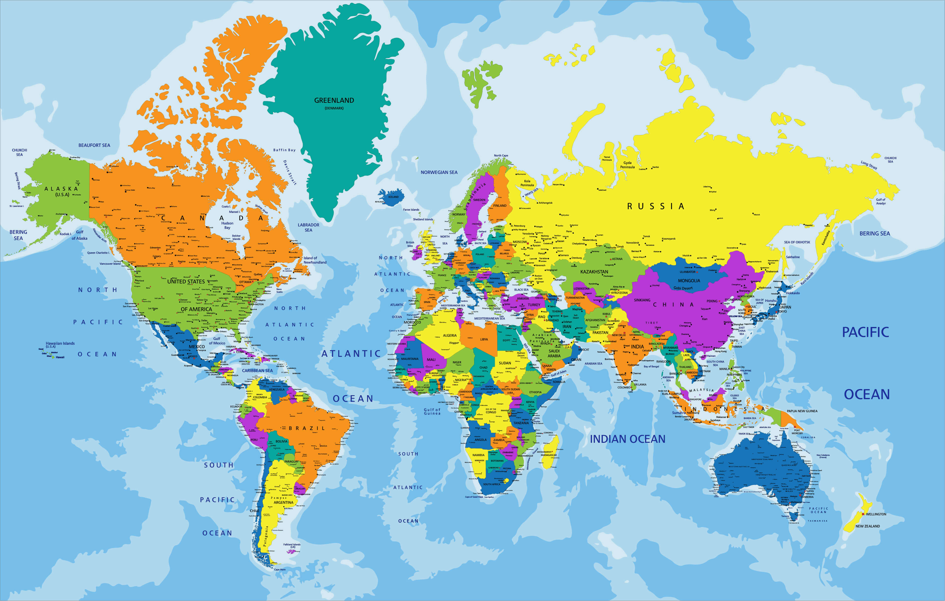 World Countries Map and Oceania