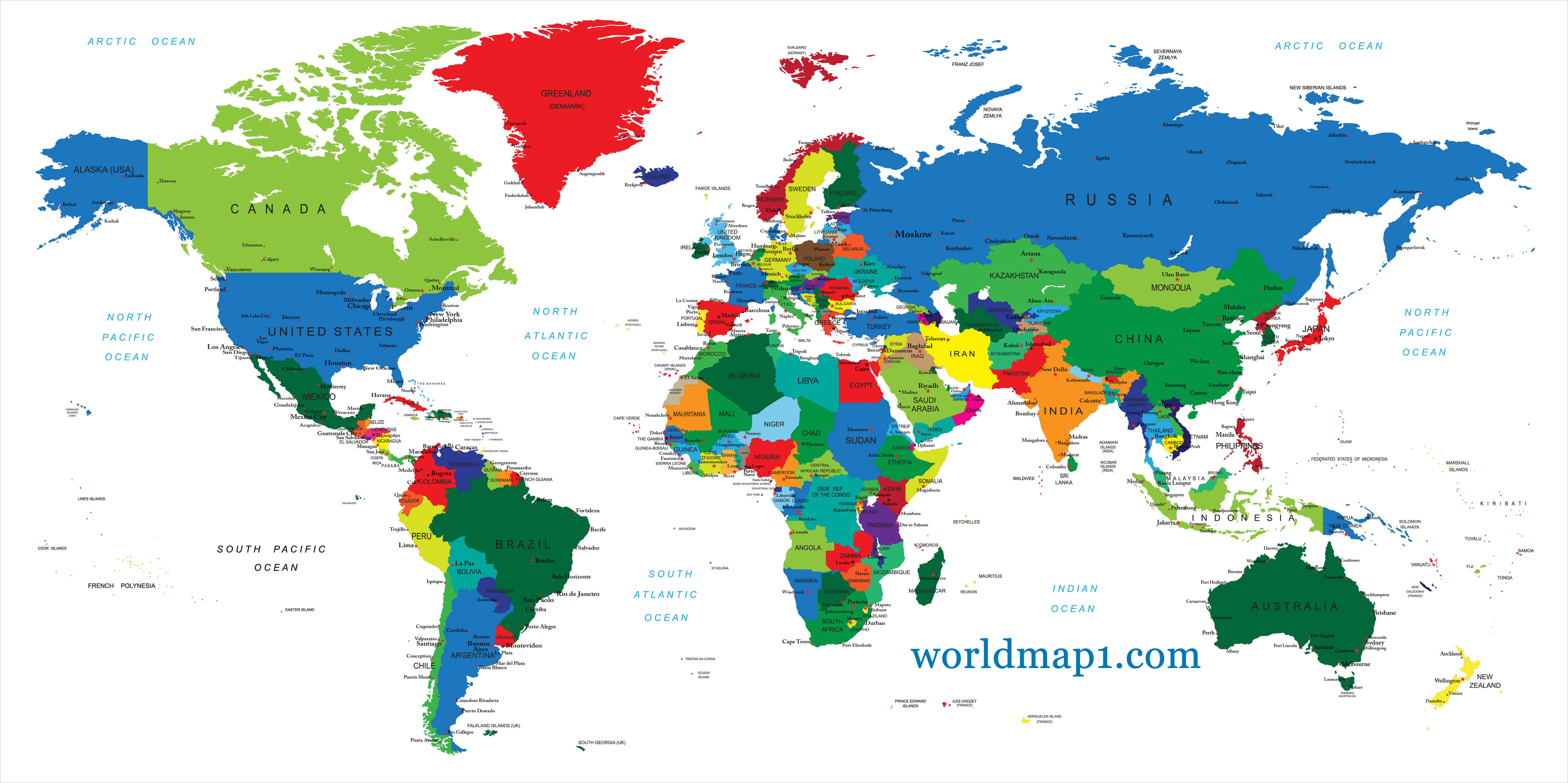 World Map and Oceania Countries