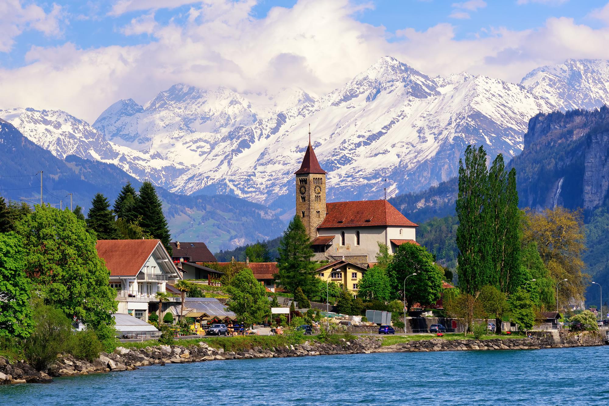 Brienz Town on Lake Brienz Switzerland