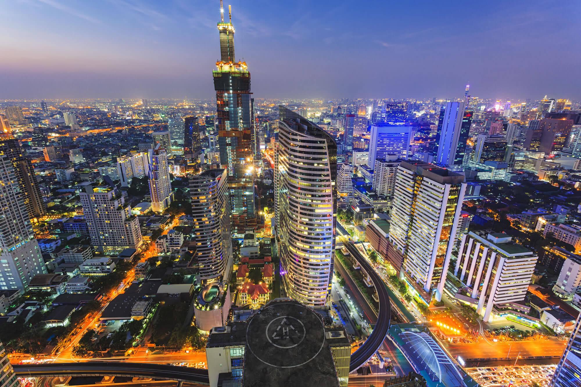 Building cityscape in Bangkok, Thailand