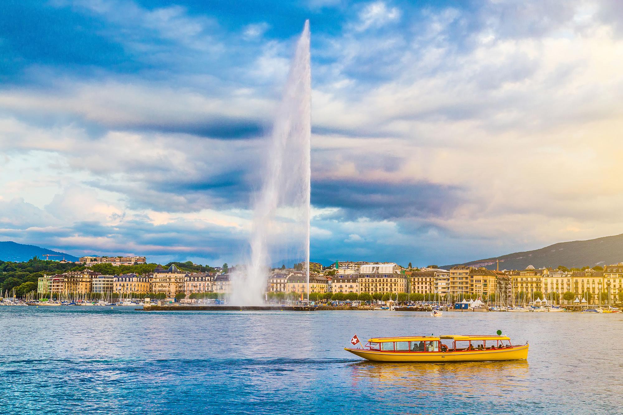 Jet d'Eau Fountain, Geneva Switzerland