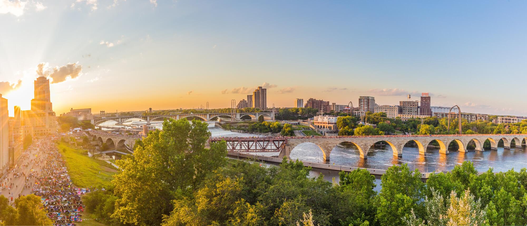 Minneapolis Minnesota at sunset
