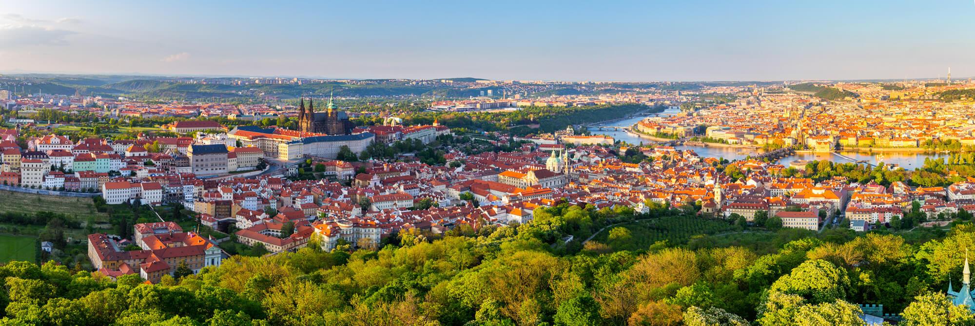 Prague City Panorama at Sunset