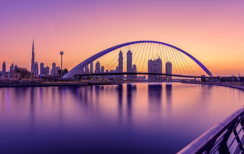 Sunrise in Dubai Canal, United Arab Emirates