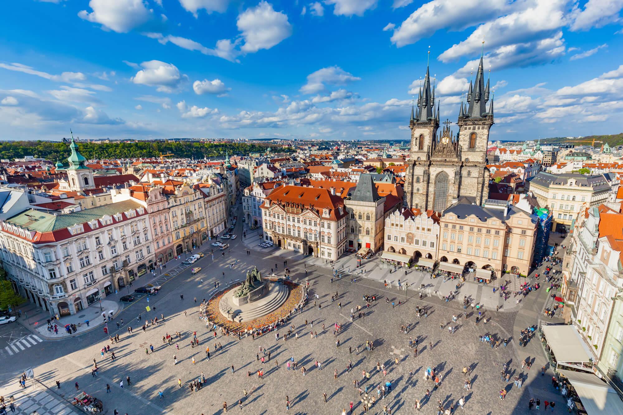 Tyn Church and Jan Hus Memorial, Prague