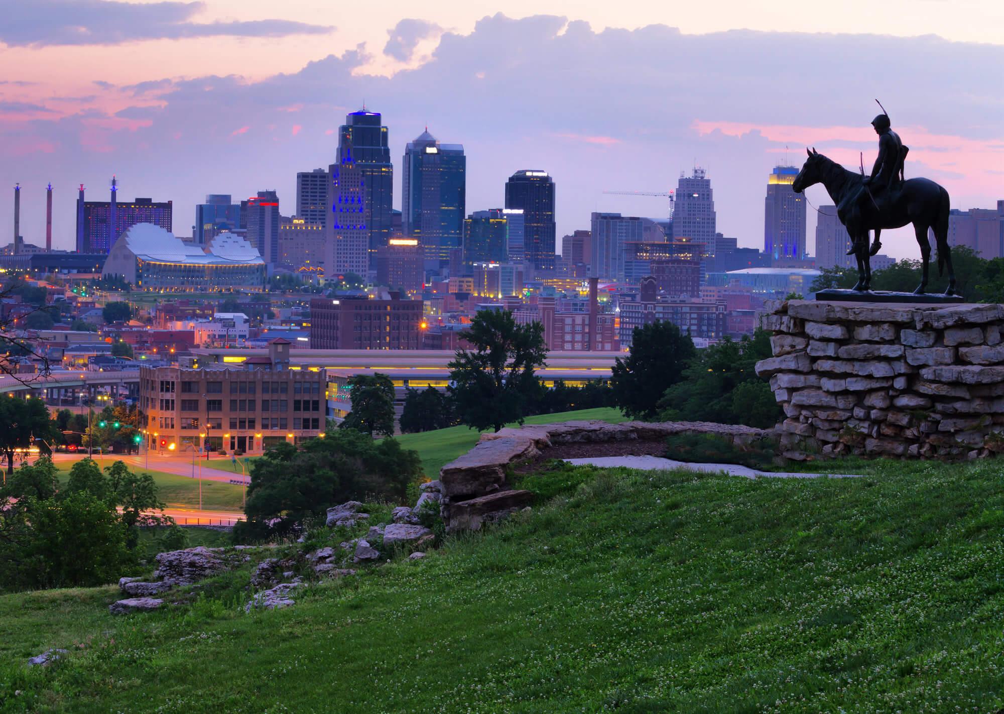 View of Kansas City, Missouri skylines