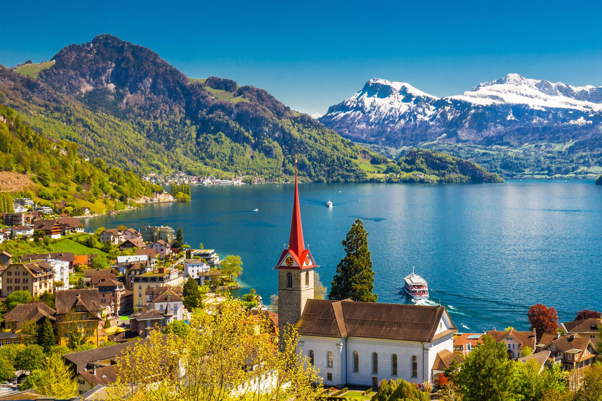 Weggis village with the view of Pilatus mountain Switzerland